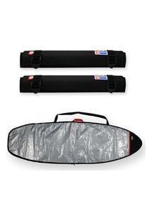 Capa Prancha Surf Refletiva E Acolchoada 6'4 A 6'7 Com Tubo Rack Espuma 40Cm - Maori Extreme