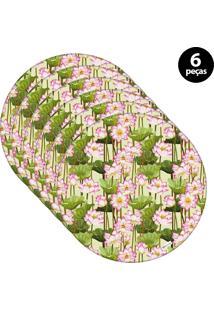 Capa Para Sousplat Mdecore Floral Verde 6Pçs