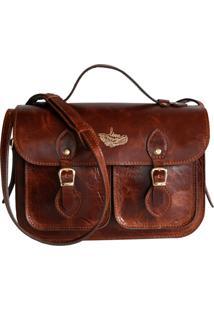 Bolsa Line Store Satchel Pequena Pockets Couro Conhaque Vintage. - Marrom - Feminino - Dafiti