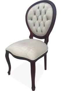 Cadeira Medalhão Capitonê Madeira Maciça Design De Luxo Peça Artesanal