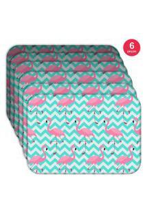 Jogo Americano Love Decor Wevans Flamingos Kit Com 6 Pçs
