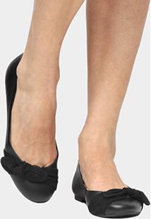 Sapatilha Couro Shoestock Laço Feminina - Feminino-Preto
