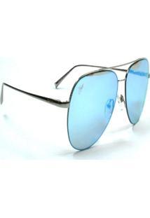 Óculos De Sol Jf Sun Kai-Prata-Azul Espelhado - Kanui