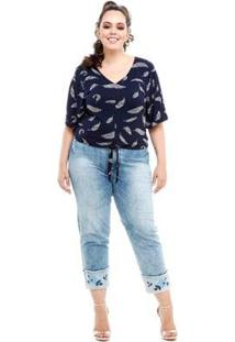 Blusa Cropped Melinde Plus Size Nó Folhas Feminina - Feminino-Azul Escuro