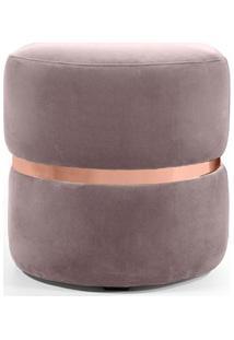 Puff Decorativo Com Cinto Rosê Round B-305 Veludo Rosê - Domi