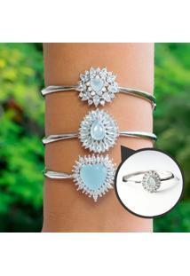 Bracelete Gota Com Cristal Azul Leitoso Folheado A Ródio