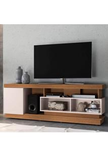 Rack Bancada Para Tv Até 75 Polegadas 1 Porta 5 Nichos Tijuca Colibri Natura Real/Off White