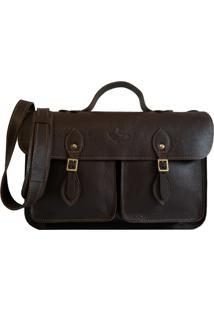1a6bbd380 ... Bolsa Line Store Leather Satchel Pockets Média Marrom Escuro
