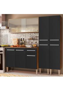 Cozinha Completa Madesa Emilly Fly Com Armário Vidro Miniboreal, Balcão E Paneleiros - Rustic/Preto Marrom