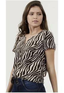 Blusa Feminina Estampa Animal Print Lurex Gups
