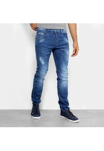 Calça Jeans Skinny Zune Estonada Com Puídos Masculina - Masculino