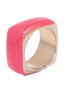 Anel Quadrado Pink Vibração - Rosa