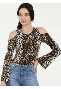 Body Feminino Animal Print Open Shoulder Manga Longa