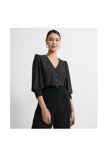 Camisa Gola V Estampa Mini Poá E Mangas 3/4 Bufantes | Cortelle | Preto | P
