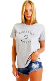 Camiseta Joss Feminina Estampada Sincerely Hate - Feminino-Mescla