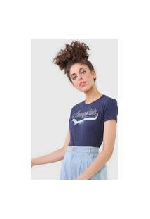 Camiseta Aeropostale Lettering Azul-Marinho