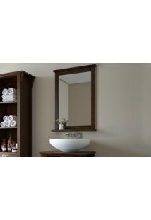Espelheira Em Madeira Para Banheiro Mission - Espelho Para Lavabo Cor Nogueira - 53X10X73Cm