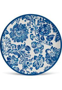 Prato De Sobremesa Maya Azul E Branco 2,5X20X20 Cm