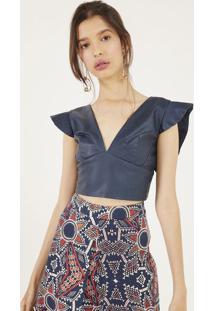 Blusa Cropped Com Recortes - Azul Marinhopop Up
