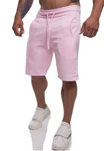 Bermuda Moletom Top Fit Premium Rosa