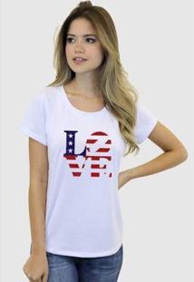 Camiseta Suffix Blusa Estampa Love Bandeira Dos Estados Unidos Basica Gola Redonda Feminina - Feminino-Branco