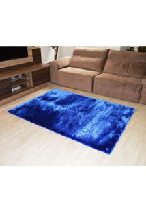 Tapete Elsa Retangular Shaggy 150X200 Cm Azul