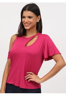Blusa Lisa Com Recorte & Vazado- Pink- Tritontriton