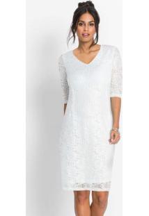 Vestido De Renda Com Fenda Na Barra Branco