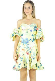 Vestido Liage Curto Floral Tomara Que Caia Manga Balone Babado Amarelo/Azul Escuro/Vermelho/Verde
