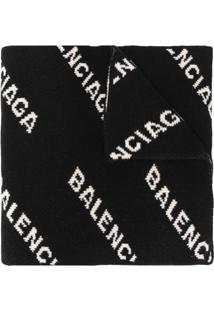 Balenciaga Cachecol De Jacquard Com Logo - Preto