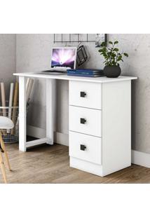 Mesa Para Computador 3 Gavetas Tradicional Msm436 Branco - Móvel Bento
