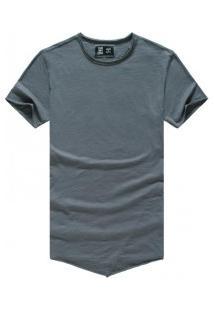 Camiseta Masculina Longline Manga Curta - Cinza