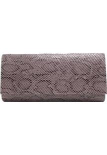 Bolsa Clutch Animal Print Cobra - Feminino-Preto