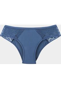 Calcinha Liz Renda Feminina-80141 - Feminino-Azul