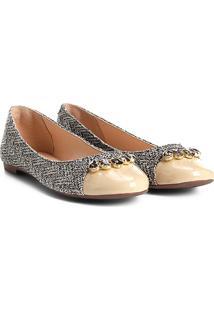 Sapatilha Shoestock Bico Redondo Pedraria Feminina - Feminino-Bege