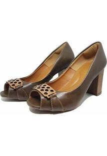 Sapato Peep Toe Fivela Salto Baixo 109 Hinfinity Feminino - Feminino-Marrom