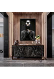 Quadro Noa 90X60Cm Mulheres Negras Maquiagem Dourada Moldura Vidro - Multicolorido - Dafiti