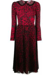 Redvalentino Vestido Midi Com Estampa De Leopardo - Vermelho