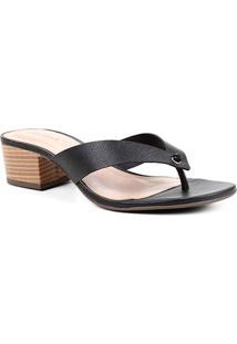 Tamanco Couro Shoestock Salto Bloco Baixo - Feminino-Preto