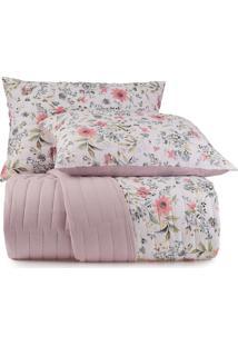 Jogo De Colcha Casal Altenburg Malha In Cotton 100% Algodáo Vivacitá – Rosa Rosa - Tricae