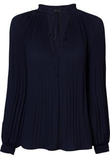 Blusa Le Lis Blanc Plissada Nicole Azul Marinho Feminina (Dark Blue, 40)