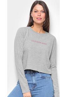 Blusa Cropped Calvin Klein Logo Manga Longa Feminina - Feminino-Mescla