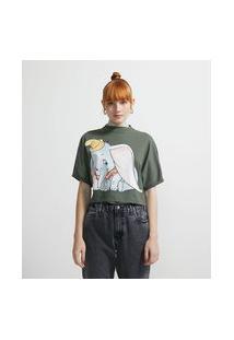 Blusa Em Algodão Com Golinha Alta Manga Curta E Estampa Dumbo