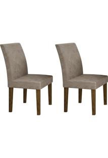 Conjunto Com 2 Cadeiras Olímpia Ipê E Cinza