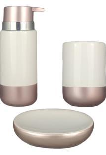 Kit Banheiro Saboneteira Lavabo Acessório Pia Rose Branco Porcelana Porta Sabonete Líq Escova 3Pç