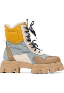 Grey Mer Ankle Boot Com Recorte Contrastante - Cinza