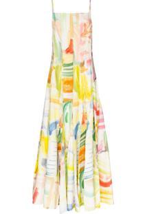 Rosie Assoulin Vestido Longo Million Pleats Com Estampa Aquarela - Branco