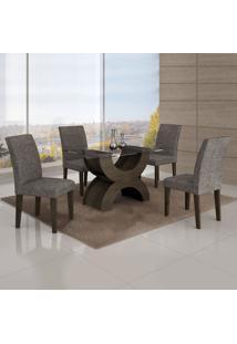 Conjunto Mesa Olimpia New 1,20X0,80M 4 Cadeiras Linho Cinza - 7338.39.7.15 Leifer
