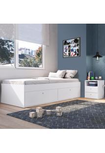 Quarto Completo Solteiro 2 Portas 2 Gavetas Cj043 Branco - Art In Móveis