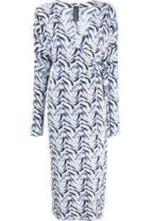 Norma Kamali Chevron Zebra Print Wrap Dress - Azul